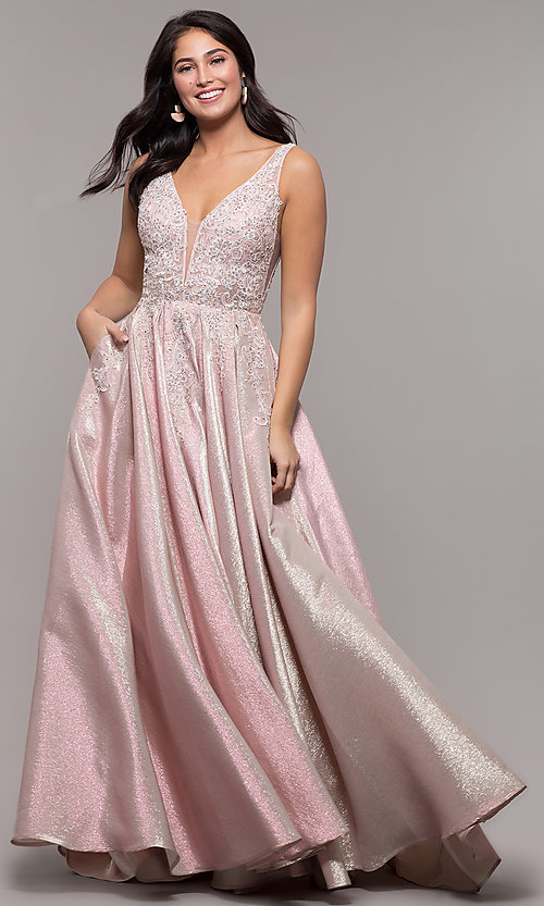 Image of v-neck sparkly long formal prom dress with pockets. Style: DQ-2747 Detail Image 3