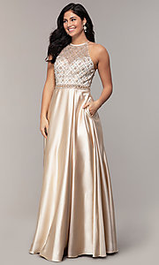 Image of long satin beaded-bodice prom dress. Style: DQ-2744 Detail Image 3