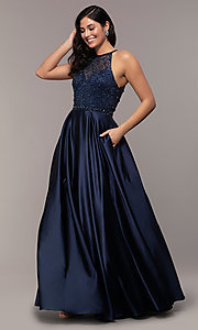 Image of long satin beaded-bodice prom dress. Style: DQ-2744 Front Image