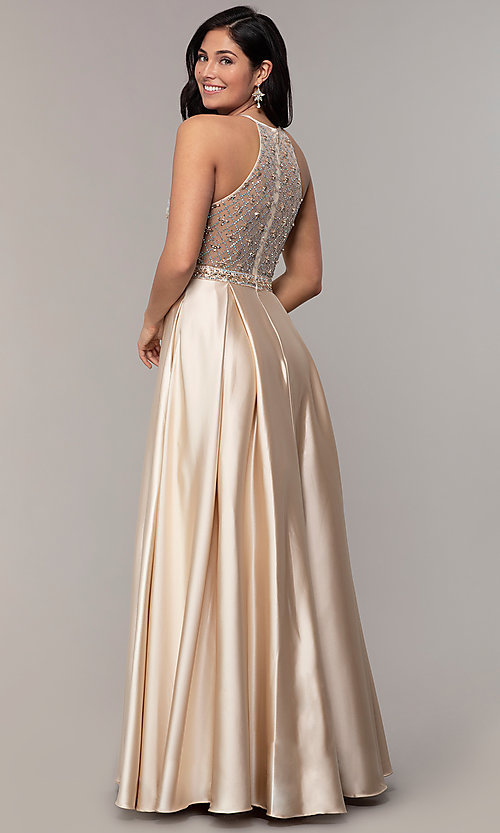 Image of long satin beaded-bodice prom dress. Style: DQ-2744 Detail Image 4