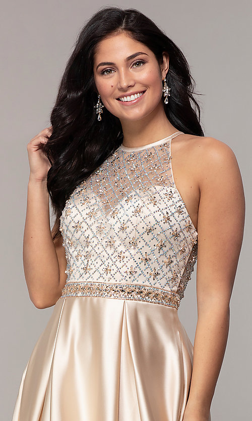 Image of long satin beaded-bodice prom dress. Style: DQ-2744 Detail Image 5