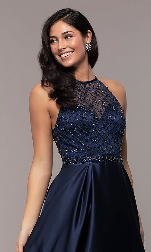 Image of long satin beaded-bodice prom dress. Style: DQ-2744 Detail Image 1