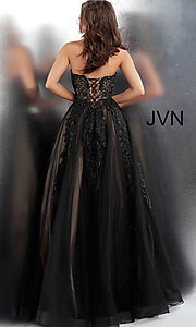 Image of embroidered ball-gown-style designer prom dress. Style: JO-JVN-JVN66970 Back Image