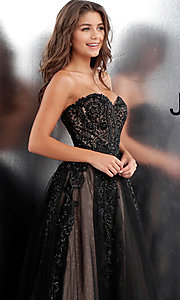 Image of embroidered ball-gown-style designer prom dress. Style: JO-JVN-JVN66970 Detail Image 1