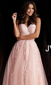Image of embroidered ball-gown-style designer prom dress. Style: JO-JVN-JVN66970 Detail Image 5