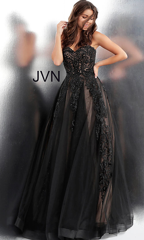 Image of embroidered ball-gown-style designer prom dress. Style: JO-JVN-JVN66970 Front Image