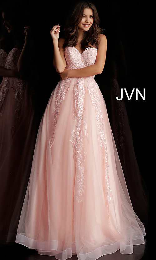Image of embroidered ball-gown-style designer prom dress. Style: JO-JVN-JVN66970 Detail Image 3