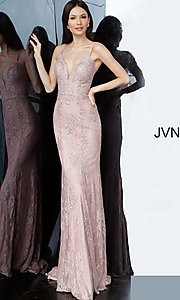 Image of long deep-v-neck embroidered designer prom dress. Style: JO-JVN-JVN66971 Detail Image 5