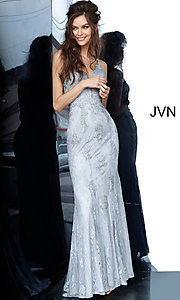 Image of long deep-v-neck embroidered designer prom dress. Style: JO-JVN-JVN66971 Detail Image 7