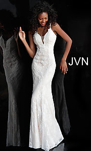 Image of long deep-v-neck embroidered designer prom dress. Style: JO-JVN-JVN66971 Detail Image 1