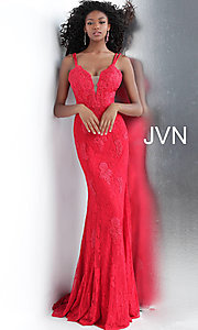 Image of long deep-v-neck embroidered designer prom dress. Style: JO-JVN-JVN66971 Front Image