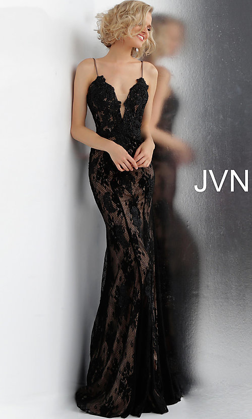 Image of long deep-v-neck embroidered designer prom dress. Style: JO-JVN-JVN66971 Detail Image 3