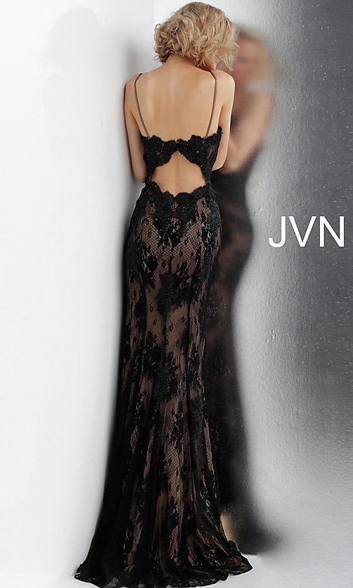 Image of long deep-v-neck embroidered designer prom dress. Style: JO-JVN-JVN66971 Detail Image 4