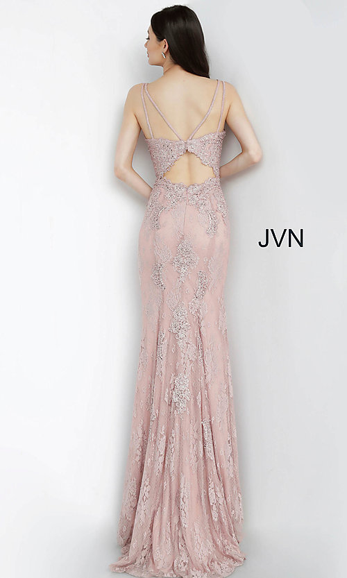 Image of long deep-v-neck embroidered designer prom dress. Style: JO-JVN-JVN66971 Detail Image 6