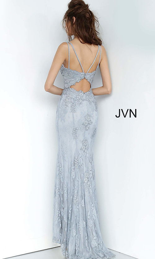 Image of long deep-v-neck embroidered designer prom dress. Style: JO-JVN-JVN66971 Detail Image 8