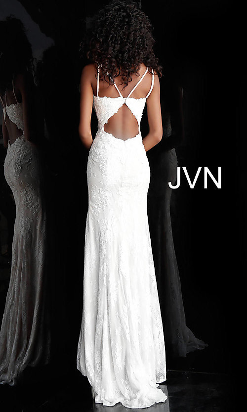 Image of long deep-v-neck embroidered designer prom dress. Style: JO-JVN-JVN66971 Detail Image 2
