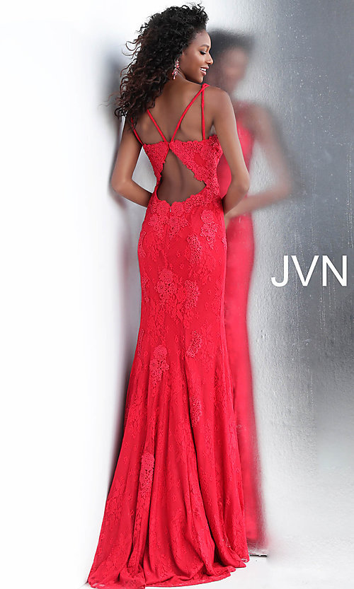 Image of long deep-v-neck embroidered designer prom dress. Style: JO-JVN-JVN66971 Back Image