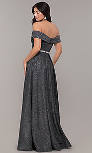 Image of off-the-shoulder long faux-wrap sparkly prom dress. Style: DQ-2824 Back Image