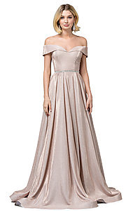 Image of off-the-shoulder long faux-wrap sparkly prom dress. Style: DQ-2824 Front Image