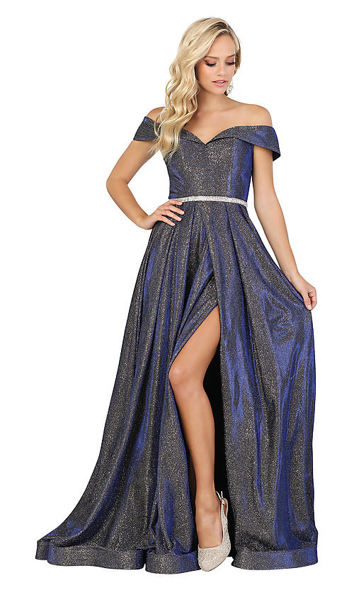 Image of off-the-shoulder long faux-wrap sparkly prom dress. Style: DQ-2824 Detail Image 5