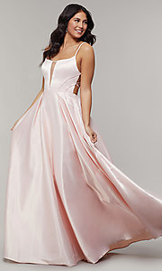 Image of long backless scoop-neck prom dress with pockets. Style: JT-687 Detail Image 3