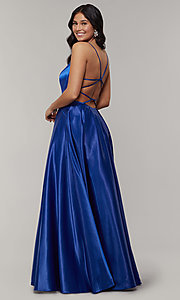 Image of long backless scoop-neck prom dress with pockets. Style: JT-687 Front Image
