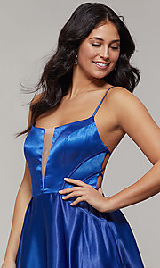 Image of long backless scoop-neck prom dress with pockets. Style: JT-687 Detail Image 1