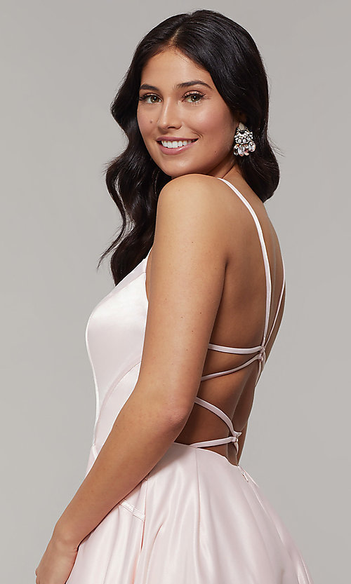 Image of long backless scoop-neck prom dress with pockets. Style: JT-687 Detail Image 6