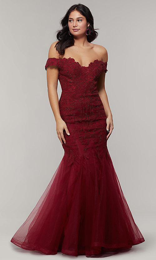 e4a9ce9ca7b5e Off-the-Shoulder Embroidered Mermaid Prom Dress