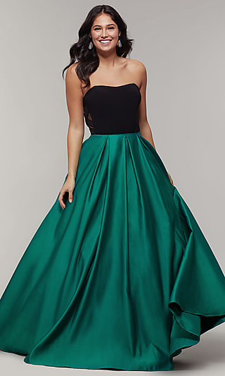 Long Strapless Sweetheart Prom Dress with Pockets