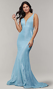 Image of long v-neck glitter-crepe sparkly prom dress. Style: JT-695 Front Image