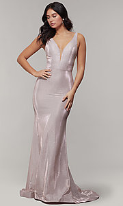 Image of long v-neck glitter-crepe sparkly prom dress. Style: JT-695 Detail Image 6