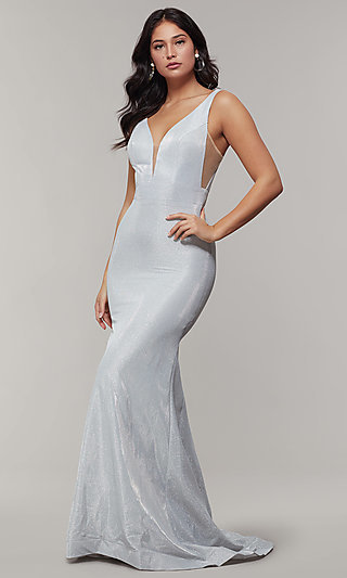 Long V-Neck Glitter Crepe Prom Dress