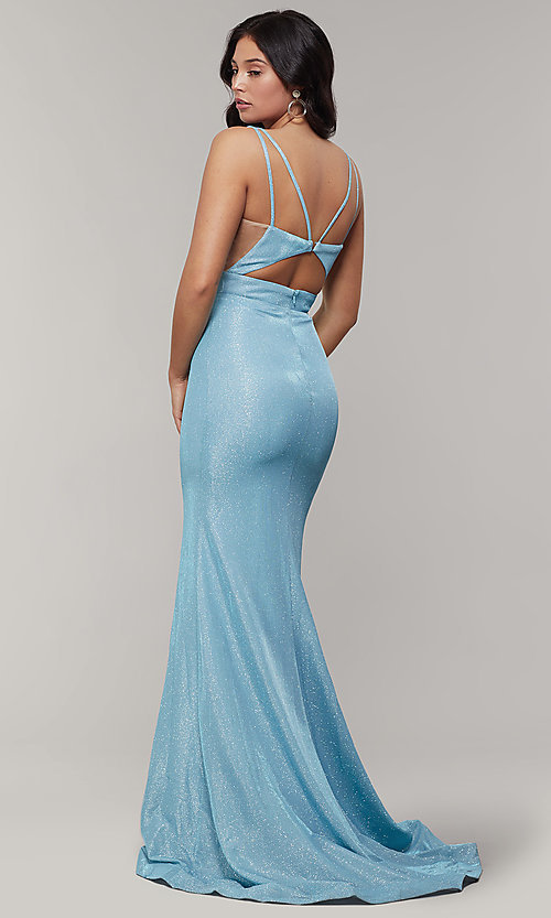Image of long v-neck glitter-crepe sparkly prom dress. Style: JT-695 Back Image