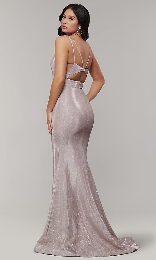 Image of long v-neck glitter-crepe sparkly prom dress. Style: JT-695 Detail Image 7