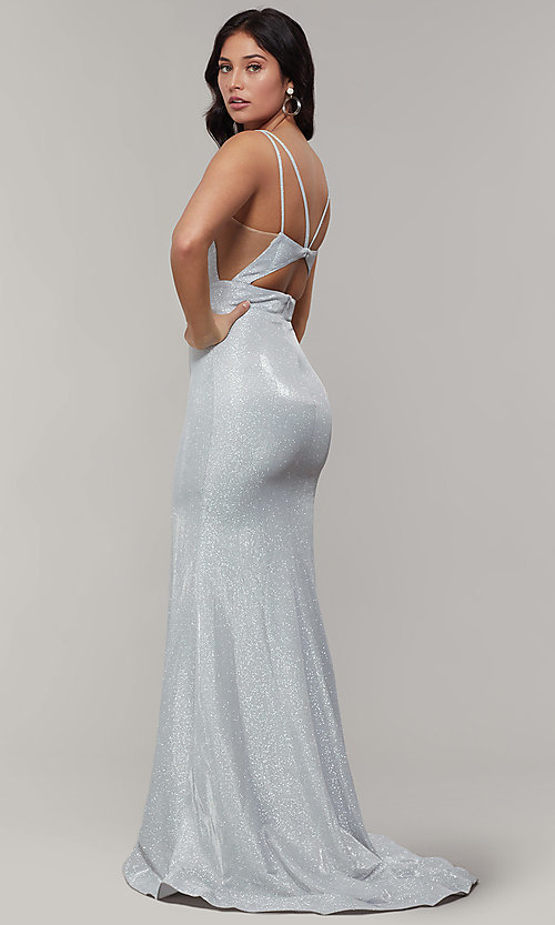 Image of long v-neck glitter-crepe sparkly prom dress. Style: JT-695 Detail Image 3