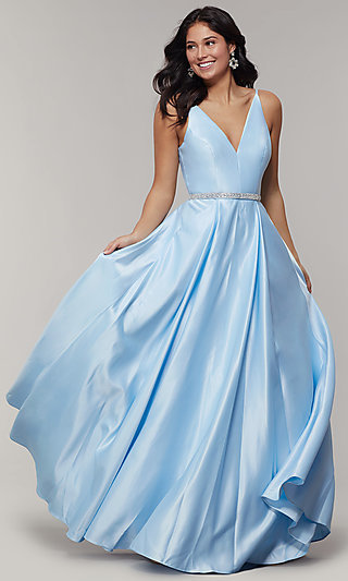 Long Satin Sleeveless V-Neck Prom Dress