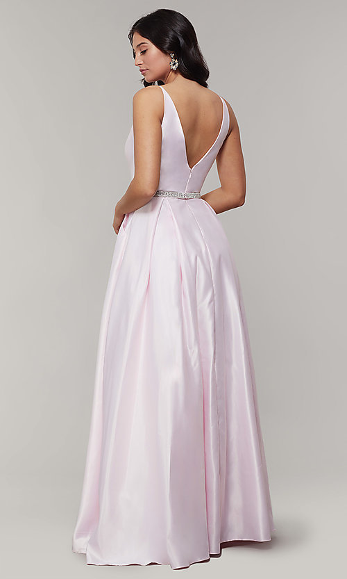 Image of long satin v-neck prom dress with removable belt. Style: JT-696 Detail Image 2