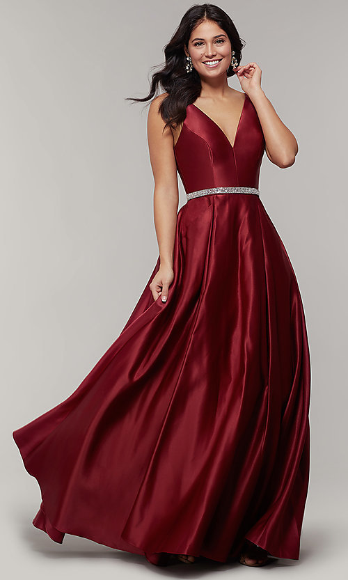 Image of long satin v-neck prom dress with removable belt. Style: JT-696 Detail Image 5