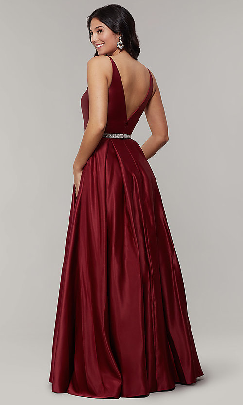 Image of long satin v-neck prom dress with removable belt. Style: JT-696 Detail Image 6
