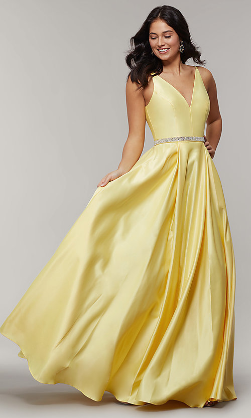 Image of long satin v-neck prom dress with removable belt. Style: JT-696 Detail Image 7
