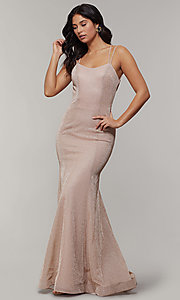 Image of long glitter-crepe sparkly mermaid prom dress. Style: JT-697 Back Image