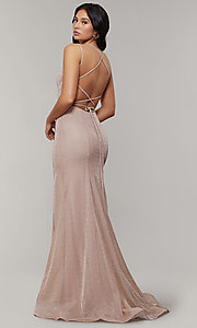 Image of long glitter-crepe sparkly mermaid prom dress. Style: JT-697 Front Image