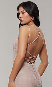 Image of long glitter-crepe sparkly mermaid prom dress. Style: JT-697 Detail Image 2
