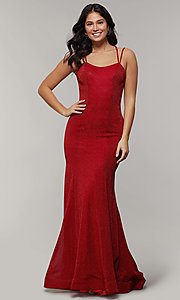 Image of long glitter-crepe sparkly mermaid prom dress. Style: JT-697 Detail Image 3
