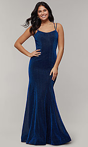 Image of long glitter-crepe sparkly mermaid prom dress. Style: JT-697 Detail Image 6