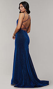 Image of long glitter-crepe sparkly mermaid prom dress. Style: JT-697 Detail Image 7