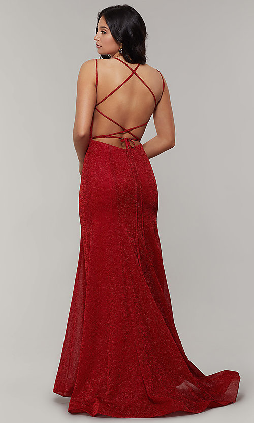Image of long glitter-crepe sparkly mermaid prom dress. Style: JT-697 Detail Image 4