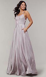 Image of magenta mauve glitter long formal prom dress. Style: JT-203 Detail Image 3