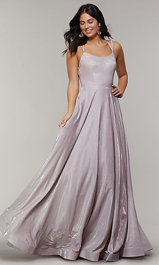 Long Glitter Crepe Prom Dress with Back Cut Outs